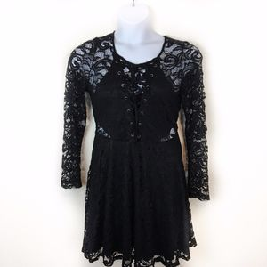 Material Girl Lace Cut Out Goth Fit & Flare Dress